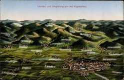 Postcard Landau in der Pfalz, Stadt und Umgebung aus der Vogelperspektive