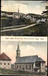 Postcard Schönwald im Schwarzwald Baden Württemberg, Kirche mit Partie, Gesamt