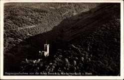 Postcard Niederheimbach am Rhein, Fliegeraufnahme von Ruine Soneck