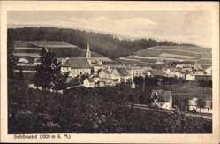 Postcard Schönwald im Schwarzwald Baden Württemberg, Gesamtansicht mit Kirche, Felder