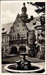 Postcard Forchheim in Oberfranken Bayern, Progymnasium und Realschule, Brunnen
