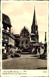 Postcard Aschaffenburg, Blick auf die Stiftskirche mit Brunnen, Autos