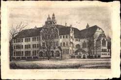 Postcard Osnabrück, Blick auf das Ratsgymnasium, Frontansicht, Straßenpartie