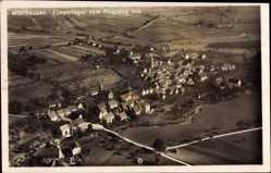 Postcard Mühlhausen Stuttgart, Fliegeraufnahme, Stadtpanorama, Häuser, Felder