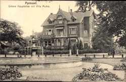 Postcard Bad Pyrmont in Niedersachsen, Untere Hauptallee mit Villa Muhle