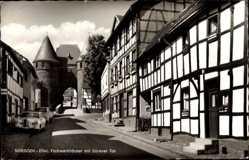 Postcard Nideggen in der Eifel, Fachwerkhäuser mit Dürener Tor
