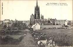 Ak Le Folgoet Finistère, Vue générale, Retour de la Foire du Grand Pardon
