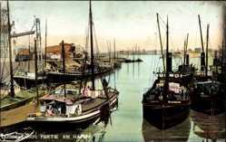 Postcard Düsseldorf am Rhein, Hafenpartie mit Booten und Umgebung