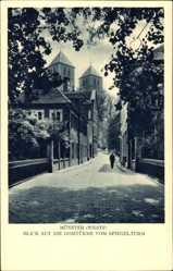 Postcard Münster Westfalen, Blick auf die Domtürme vom Spiegelturm, Passant