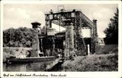 Postcard Henrichenburg Castrop, Schiffshebewerk, Flusspartie, Schiff