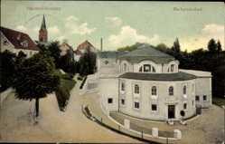 Postcard Badenweiler, Blick auf das Markgrafenbad, Straßenpartie, Glockenturm
