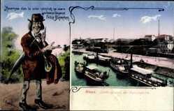 Ak Riesa an der Elbe, Fritze Bliemchen, Landungsplatz der Dampfschiffe