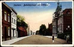 Postcard Süchteln Viersen, Bahnhofstraße mit Rathaus, Straße