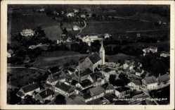 Postcard Heimenkirch Schwaben Westallgäu, Fliegeraufnahme vom Ort, Kirche