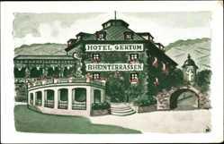 Künstler Ak Oberwesel im Rhein Hunsrück Kreis, Hotel Gertum, Rheinterrassen
