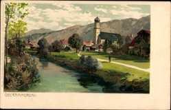Künstler Litho Diemer, Zeno, Oberammergau in Oberbayern, Kirche, Fluss