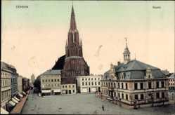 Postcard Demmin in Vorpommern, Marktplatz, Kirche, Rathaus