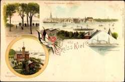 Litho Kiel, Panorama, S. M. Yacht Hohenzollern, Seegarten, Bellevue