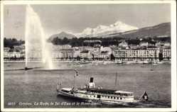 Postcard Genève Genf Stadt, La Rade, le Jet d'Eau et Mont Blanc, Salondampfer Montreux