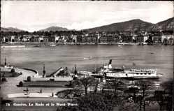 Postcard Genève Genf Stadt, La Rade et le Mont Blanc, Salondampfer France