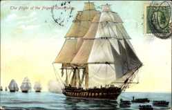 Postcard The Flight of the Frigate Constitution, Segelschiff, Old Ironside
