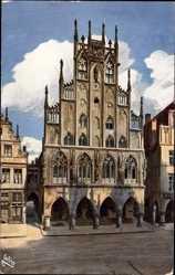 Postcard Münster in Westfalen, Blick von außen auf das Rathaus