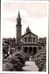 Postcard Weinheim an der Bergstraße Baden, Marktplatz mit Stadtkirche