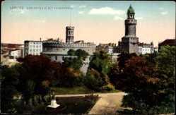 Postcard Görlitz in der Lausitz, Demianiplatz mit Kaiserstruz und Denkmal