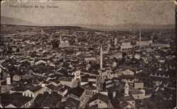 Postcard Skopje Mazedonien, Panorama der Stadt, Minaretttürme