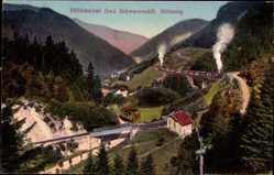 Postcard Breitnau Schwarzwald, Höllental, Höllsteig, Brücke, Zug, Hütte
