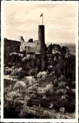 Postcard Weinheim an der Bergstraße Baden, Blick auf die Burgruine Windeck, Fahne