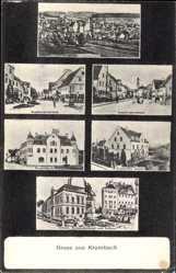 Postcard Krumbach Kreis Günzburg, Augsburger Str., Priestergebäude, Kriegerdenkmal