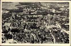Postcard Güstrow im Kreis Rostock, Fliegeraufnahme der Stadt, Kirche