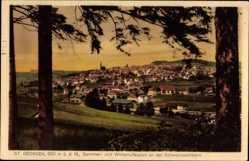 Postcard St. Georgen im Schwarzwald Baar Kreis, Blick auf die Stadt