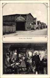 Postcard Meldorf, Stadtansicht, Straßenpartie, Restaurant, Inh. H. Brügge, Innen