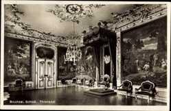 Postcard Burchsal, Schloss, innenansicht, Thronsaal, Kronleuchter, Stühle