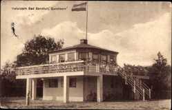 Postcard Quickborn Kr. Pinneberg, Naturpark Bad Sandfurt, Fahne, Plattform