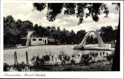 Postcard Hessisch Oldendorf an der Weser, Blick in das Schwimmstadion, Rutsche