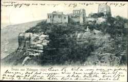 Postcard Nideggen in der Eifel, Blick auf die Burgruine, Felsmassiv