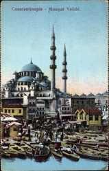 Postcard Konstantinopel Istanbul Türkei, Mosqué Validé, Hafenpartie, Moschee