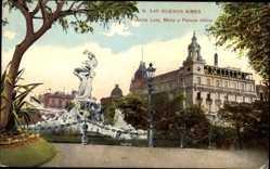Postcard Buenos Aires Argentinien, Fuente Lola, Mora y Palace Hotel
