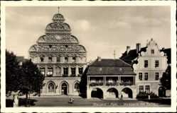 Ak Stargard Szczeciński Stargard Pommern, Marktseite mit Rathaus