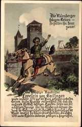 Postcard Nürnberg in Mittelfranken Bayern, Der berüchtigte Raubritter, Eppeleinsprung