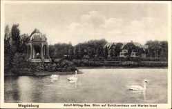 Postcard Magdeburg in Sachsen Anhalt, Adolf Mittag See, Schützenhaus, Marien Insel