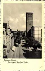 Postcard Wiesdorf Leverkusen in Nordrhein Westfalen, Hauptstrasse mit Herz Jesu Kirche