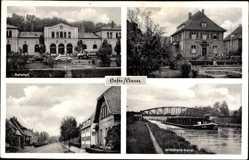 Postcard Haste im Kreis Schaumburg, Bahnhof, Mittelland Kanal, Straßenpartie