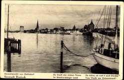 Postcard Gehlsdorf Rostock, Stadt der Sieben Türme, Ostseestrand, Hafen