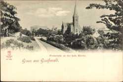 Postcard Greifswald in Mecklenburg Vorpommern, Promenade an der katholischen Kirche