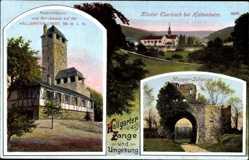 Postcard Hattenheim Eltville am Rhein Hessen, Mapper Schanze, Aussichtsturm, Kloster