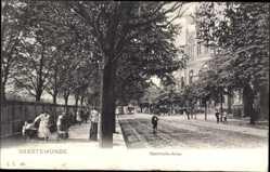 Postcard Geestemünde Bremerhaven, Blick in die Bahnhofsallee, Passanten